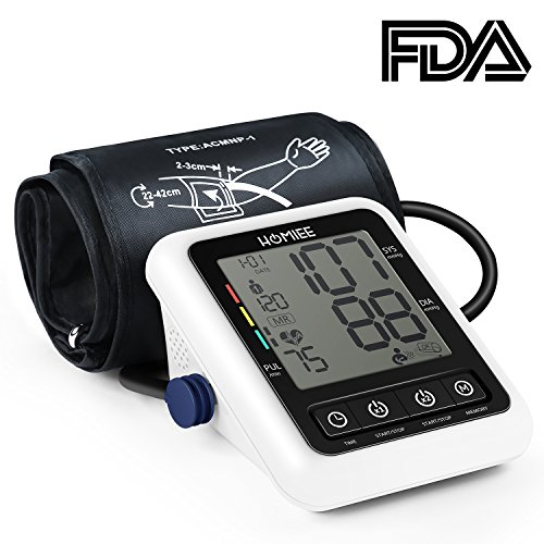 HOMIEE Oberarm Blutdruckmessgerät,klinische Vollautomatische professionelle Blutdruk-und Pulsmessung 2 * 120 Speicherplätze, mit Arrhythmie Anzeige,FDA und CE Zertifizierung (weiß)