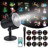 Reteck LED Projektionslampe, mit 12 Wechselbaren Musters, IP44 Wasserdicht geeignet für innen/außen, mit Fernbedienung, Geeignet für Weihnachten Licht,Party Licht und Gartenlicht, Weihnachtsgeschenk