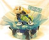 Windeltorte - mit Pflegeprodukte, Tee, Kuschelteddy, Rasselsöckchen und Trinkflasche, Tolles Geschenk zur Geburt