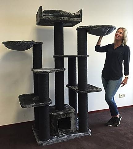 Kratzbaum für große Katzen XXL Maine Coon Fantasy Blackline Dunkel Grau. 65KG und 15cmØ Kratzstämme Katzenkratzbaum Speziell für große und schwere Katzen. Von RHRQuality