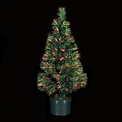 Decoración Navideña: Arbol de Navidad verde de 150cms iluminado con fibra óptica Ref. 200-454. Las luces cambian de color
