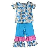 SSMITN Girls' Blue Top & Leggings Combo