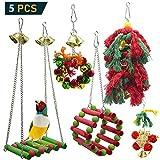 onebarleycorn - 5 Pezzi Giochi per uccelli pappagalli, Colorato Uccello Giocattolo da Masticare Altalena Appesa Giocattoli Gabbia per Piccoli Parrocchetti