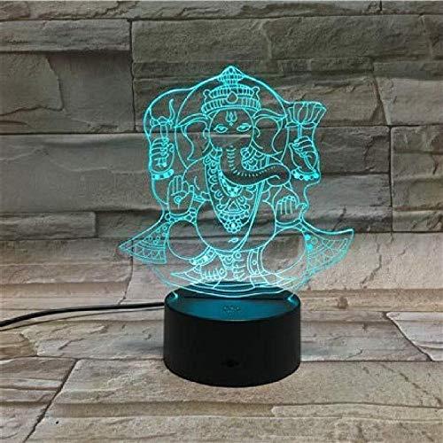 3D Lampe LED Illusion Nachtlicht 7 & 16M Farbwechsel Touch Desk Lampe Das perfekte Weihnachts- und Neujahrsgeschenk für Kinder [Energieklasse A +] Hinduismus