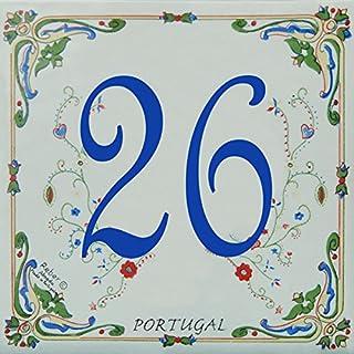 Azul'Decor35 Straßenschild anpassbare Steingut - 10,8x10,8x0,5cm - Individuelle Hausnummer zur Auswahl!