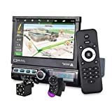 MiCarBa - Autoradio a DIN singolo, con navigatore GPS, 7 pollici, HD, radio touch screen, Bluetooth, autoradio MP3, MP5, video stereo, radio