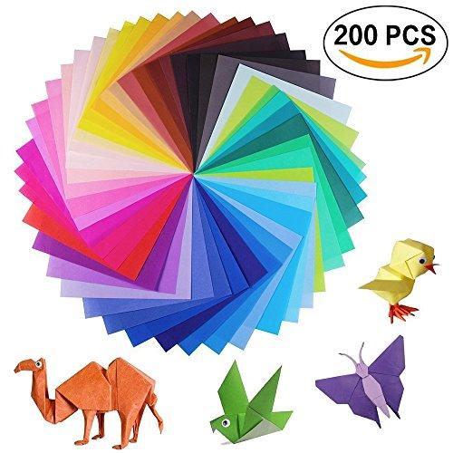 200 Blätter in 50 kräftige Farben von Sunerly, einseitiges Origami-Papier für Kunst- und Bastelprojekte, inklusive 100 x Wackelaugen, je 100 Blätter 15 x 15 cm und + 100 Blätter 10 x 10 cm