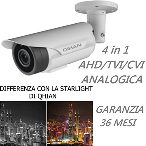 Qihan QH–Kamera Bullet Videoüberwachung 4in 1Analoge AHD TVI CVI mit Joystick, 2MXP, 1080p, Nachtsicht Starlight 0.001Luix Optische, 3.6mm, Chip 1/2.8SONY starvis BSI imx291CMOS, Auflösung 1920(H) X 1080(V), wasserdicht IP67, Stromversorgung 12V, Sprachen italano. Mod: qhw456slcno