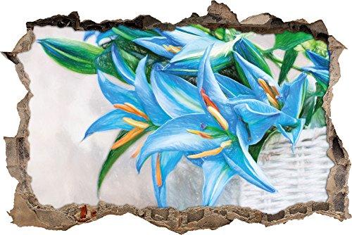 schöne blaue Blumen im Körbchen Kunst Buntstift Effekt Wanddurchbruch im 3D-Look, Wand- oder...