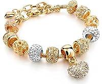 """Braccialetto in stile Pandora """"I love you"""" con 11 charm placcato oro. Lunghezza 17 cm + 4 cm di catenina regolabile. Charm composti da pietra in cristallo austriaco e strass. Consegnato con una confezione regalo in organza."""