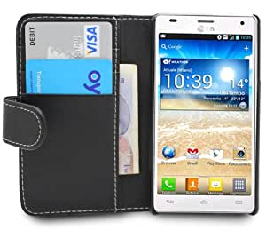 Gadget Giant LG Optimus 4X HD P880 Black PU Leather WALLET Flip Case Cover With 4 Card Slots & 3 Pack LCD Screen Protectors