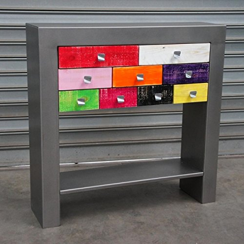 Artisan - Console Design métal tiroirs Multicolores - Dimensions:90 (L) X 30 (l) X 75 (h - Option:avec Tablette Basse