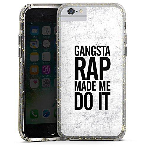 Apple iPhone 7 Bumper Hülle Bumper Case Glitzer Hülle Musik Music Rap Bumper Case Glitzer gold