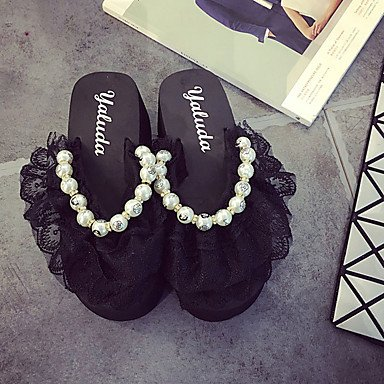 Molla di sandali Comfort PU Outdoor tacco piatto Black