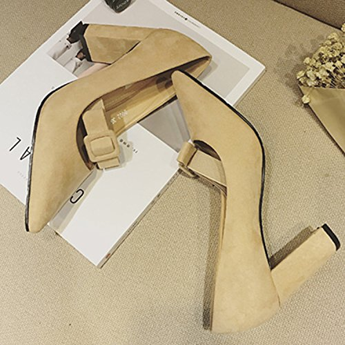 Oasap Women pointed toe party pumps high heels Black