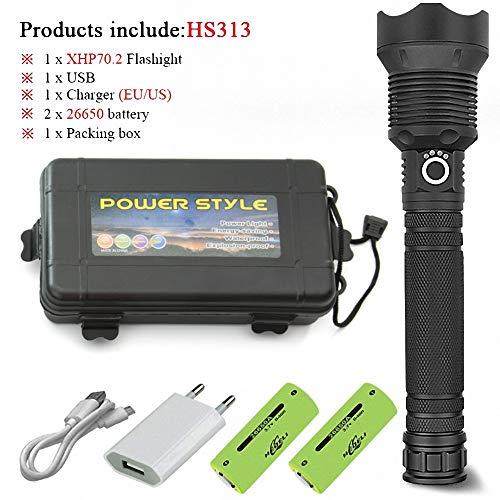 LED-Taschenlampe 70,2 stärkste Taschenlampe 26650 USB-Taschenlampe Laterne 18650 Jagd Camping Lampe Handlicht (B5)