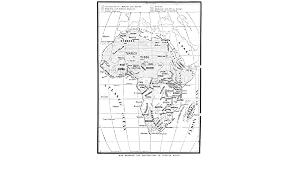 Map Of Africa Drawing.Africa Sketch Map Showing The Distribution Of African Races Tribes