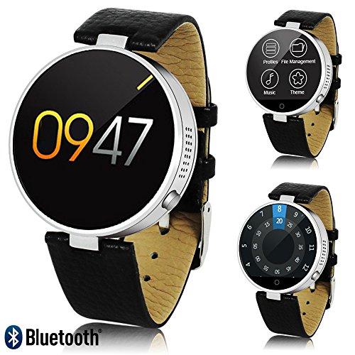 Indigi Bluetooth Sync–rotonda 3,1cm touch LCD–Portafoglio Smartwatch (sensore di frequenza cardiaca contapassi + + Siri + SMS)
