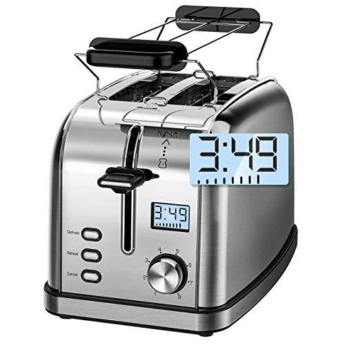 IKICH Toaster 2 Scheiben Toaster Doppelschlitz Brötchenaufsatz Toaster Edelstahl LCD Countdown-Anzeige, 8 Bräunungsstufen, Toaster mit Brötchenaufsatz Testsieger, Silber (Toaster-lcd)