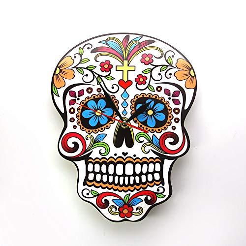 RQWY Wanduhr Mexican Dia De Los Muertos Tag der Toten Wanduhr Floral Skull Moderne Wanduhr Candy Sugar Skull Halloween Wanddekoration (De Dia Muertos-kuchen Los)