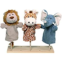 """Lot de 3 marionnettes peluches à main """"Animaux sauvages"""""""