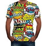 LuckyGirls Remera de los Hombres Camisetas Deportivas Originales Estampado de Graffiti Manga Corta Sencillos Casual Blusa T-Shirt Top (XL,Amarillo)
