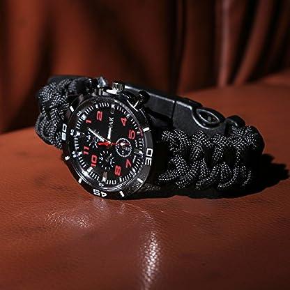 Reloj de supervivencia de pulsera 6en 1, multifuncional, impermeable, con cuerda de paracaídas, silbato, pedernal, rasqueta, brújula y termómetro