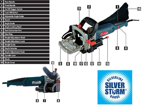 Silverline 900w 240v with Fine Adjustment Biscuit Jointer 0º-135º Sizes 0, 10, 20 12000rpm SIL128999