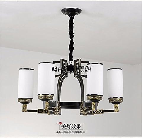 BrightLee Modern New Chinese Chandelier Bedroom Restaurant Verre Retro Iron Cottage Duplex House Living Grand Lustre, 700 * h340mm