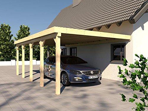 Anlehncarport Carport RHÖN VI 400x700cm Bausatz KVH Konstruktions-Vollholz Anlehn Carport