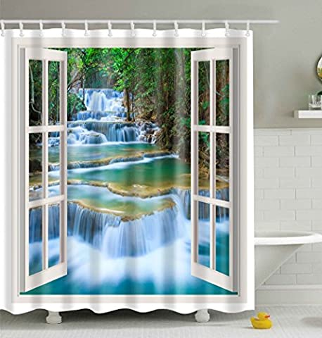 Waterfall Shower Curtain, Qile 3D Premium Waterproof Mildew-Resistant Anti-Bacterial Polyester Bathroom Shower Curtains with 12 Ring Hooks,