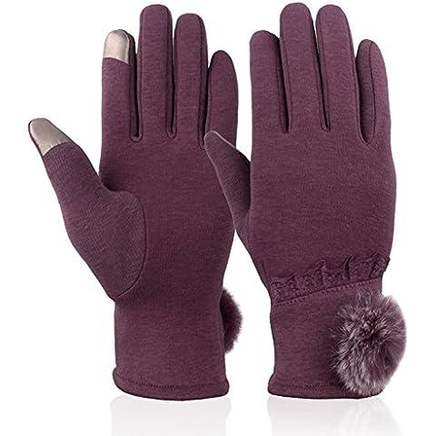 Rotibox Moda mujer Guantes de invierno Guantes de textil Guantes de pantalla táctil Mitones Mitones gruesos y calientes Guantes de clima frío - Púrpura rosa