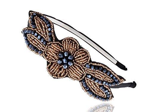 Alilang Flapper Beaded Flower Leaf Headband Golden Blue