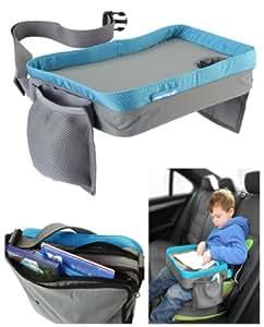 Play Tray (Bleu) - Plateau de voyage pour enfant – Pour manger et jouer dans un siège de voiture, une poussette ou un siège d'avion