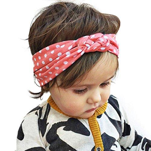 Bébés filles Bandeau Ularmo Mode enfants Dot Cross Weave Twist Bandeau Bébé Accessoires cheveux (Rose) Rose