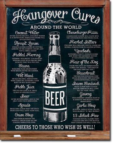 Bier beer hangover cures targa placca metallo piatto nuovo 31x40cm vs3969-1