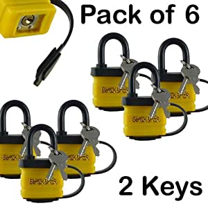 6 Waterproof Padlock With 2 Keys - Fully Insulated