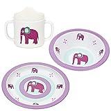 Lässig Kindergeschirr 3er- Set Wildlife Elephant // Lässig Baby`s Schale & Esslern-Teller // Lässig Schnabeltasse mit Doppelgriff // 100% Melamin