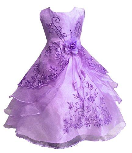 Wunderschöner Mädchen Prinzessin ärmellos Ballkleid Party Kleid Licht Lila 110