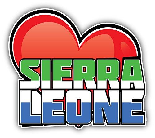 novland Sierra Leone Art Herz-Flagge Reise-Spruch Autoaufkleber Autoaufkleber Autoaufkleber 12,7 x 10,2 cm