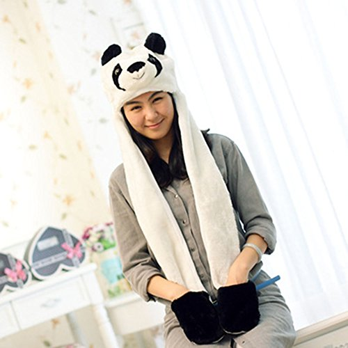 h Tiere Winter Mütze Ski Mütze Cap mit Handschuhe Kostüm Schal Zoo Tier Winter Hat #4 ()