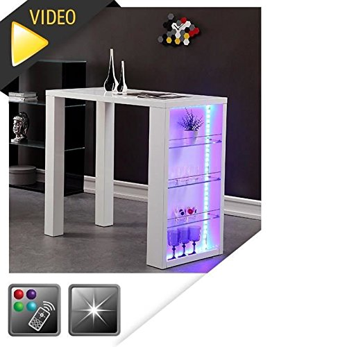 FLASH Table de bar laquée blanc + led mutlicolore