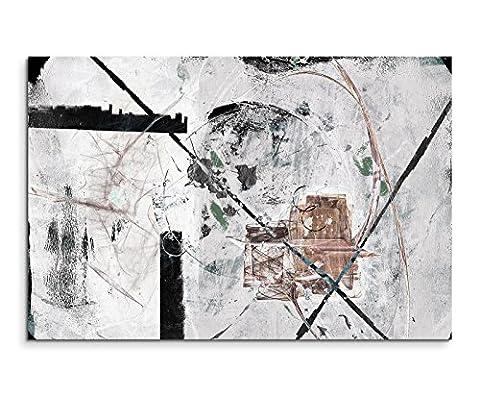 120x80cm Leinwandbild Leinwanddruck Kunstdruck Wandbild weiß grau schwarz braun Striche