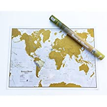Rasca el mundo, mapa mural de rascar en CASTELLANO. 84x59 cm. Maps International.
