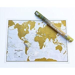 Rasca el Mundo Texto Español – ¡Rasca los lugares a los que viajes! – detalles cartográficos – 84,1cm (ancho) x 59,4(alto) cm