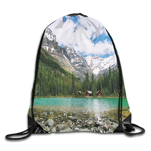 EELKKO Drawstring Backpack Gym Bags Storage Backpack, Canada Ohara Lake Yoho National Park with Mountains Nature Scenery Art Photo,Deluxe Bundle Backpack Outdoor Sports Portable Daypack