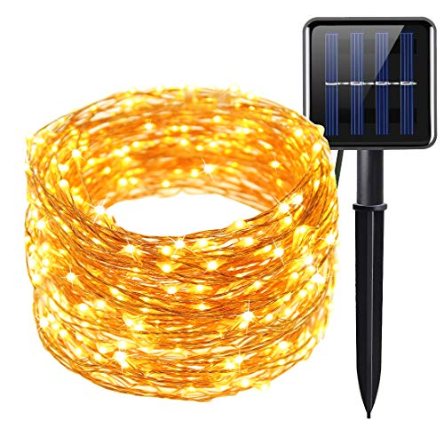 Copper Wire Solar Fairy Lights 66ft 200 LED 20M Outdoor, Solar Powered String Lights Waterproof IP65 Twinkle Christmas Lights for Trees, Garden, Holiday, Party, Wedding, Patio, Halloween (Warm White)