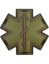 Olive Drab Multicam OD EMS EMT Medic Paramedic Star of Life Morale PVC Touch Fastener Patch
