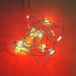 ROJO 20 LED de pilas 2 M Hada Cuerda Luz Guirnalda para Navidad Boda Decoración de mesas