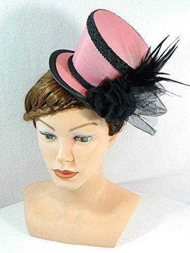 Mini Zylinder Rosa Damenhut Hut Fascinator